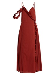 Loup Charmant Waterfall Cotton Wrap Dress Red