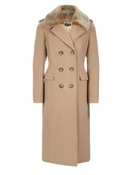 Planet Camel Faux Fur Collar Coat Neutral