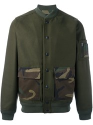 Hydrogen Patch Pocket Bomber Jacket Green