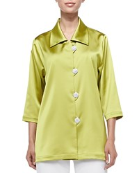 Caroline Rose Radiant Satin Pave Button Shirt Citron Petite