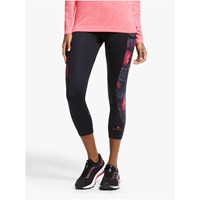 Ronhill Momentum Sculpt Cropped Running Tights Black Hot Pink Wave