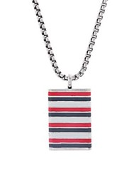 Ben Sherman Stripe Pendant And Rolo Box Chain Necklace Red