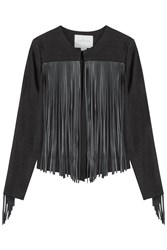 Velvet Cardigan With Faux Leather Fringe Black