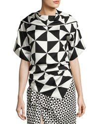 Monse Geometric Print Silk Top Black White Black White