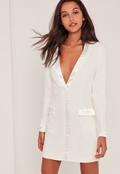 Missguided White Satin Contrast Blazer Dress