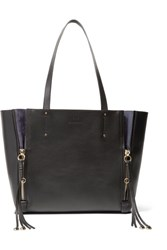 Chloe Milo Medium Suede Trimmed Leather Tote Black