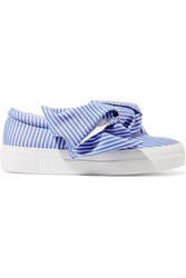 Joshua Sanders Knotted Striped Cotton Poplin Slip On Sneakers Blue