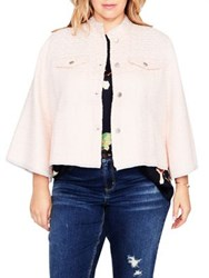 Rachel Roy Plus Bell Sleeve Textured Jacket Cosmic Pink
