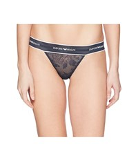 Emporio Armani Lace Thong With Branded Waistband Night Navy Blue Underwear Multi