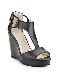 Kenneth Cole Hayley Leather T Strap Wedge Sandals Black