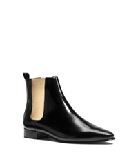 Michael Kors Luca Leather Ankle Boot Black Gold