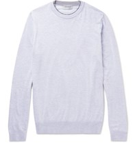 John Smedley Contrast Trimmed Sea Island Cotton Sweater Gray