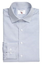 Lorenzo Uomo Men's Big And Tall Trim Fit Check Dress Shirt Medium Blue