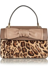 Valentino Leopard Print Calf Hair And Leather Shoulder Bag Animal Print