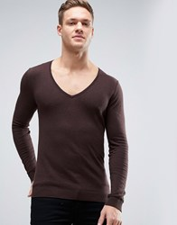 Asos Extreme V Neck Jumper In Muscle Fit Rock Brown