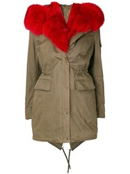 Philipp Plein Fur Trim Parka Green