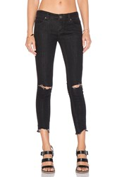 Free People Mid Rise Skinny Destroyed Ankle Jean Black
