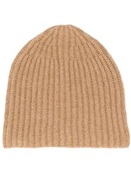Roberto Collina Plain Knitted Hat Brown