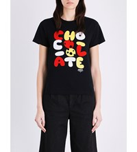 Chocoolate Cookie Logo Cotton Jersey T Shirt Black