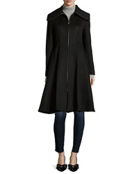 Dawn Levy Vivienne A Line Long Wool Coat Black