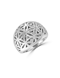 Effy Sterling Silver And Diamond Dome Ring