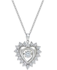 Twinkling Diamond Star Diamond Star Heart Pendant Necklace 1 3 Ct. T.W. In Sterling Silver
