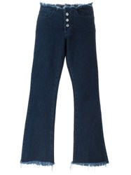 Marques Almeida Marques'almeida Double Buttons Bootcut Jeans Blue
