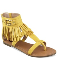 G By Guess Women's Hazed Fringe Gladiator Thong Sandals Women's Shoes Sunkiss