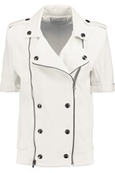 Balmain Cotton Pique Biker Jacket White