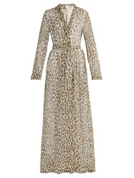 On The Island Leopard Print Silk Georgette Dress Khaki