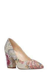 Nine West Women's Scheila Pointy Toe Pump Natural Floral Fabric