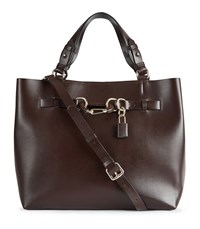 Reiss Bleecker Structured Leather Tote In Chocolate