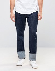 Weekday People Fold Over Jean In Contrast Blue Wash Contrast Blue