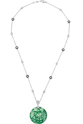 Fred Leighton Collection 18 Karat White Gold Jade And Diamond Necklace