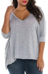 Slink Jeans Plus Size Women's V Neck Tee Heather Grey