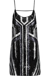 W118 By Walter Baker Pippa Cutout Sequined Crepe De Chine Mini Dress Black