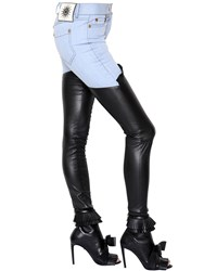 Fausto Puglisi Leather And Cotton Denim Jeans