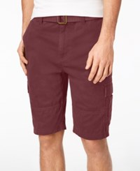 American Rag Men's Belted Relaxed Cargo Shorts Created For Macy's Wine