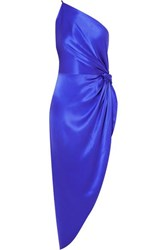 Michelle Mason One Shoulder Asymmetric Silk Satin Midi Dress Royal Blue