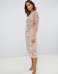 A Star Is Born Embellished Midi Dress In Pink