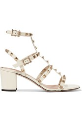 Valentino The Rockstud Patent Leather Sandals Off White