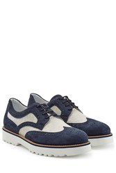 Hogan Suede And Canvas Wingtips Blue