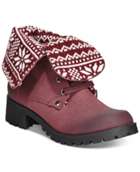 Dolce By Mojo Moxy Lumberjack Foldover Booties Women's Shoes Bordeaux
