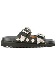 Toga Metallic Buckled Sandals Black