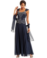 J Kara Beaded Bodice Chiffon Gown And Shawl Navy