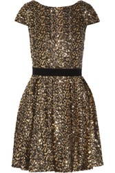 Badgley Mischka Jacky Velvet Trimmed Pleated Sequined Tulle Mini Dress Gold