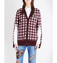 Christopher Kane Gingham Pattern Wool Blend Cardigan Bordeaux Pink