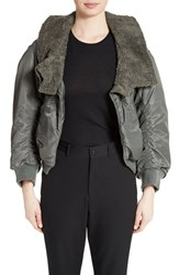 Junya Watanabe Women's Nylon Twill Bomber Jacket With Faux Shearling Trim