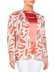 Lafayette 148 New York Plus Size Printed Open Front Cardigan Bonfire Multi