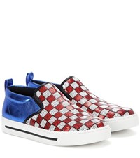 Marc Jacobs Embellished Slip On Sneakers Red